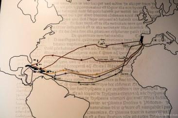 Tochten die Columbus over de Atlantische oceaan heeft gemaakt...